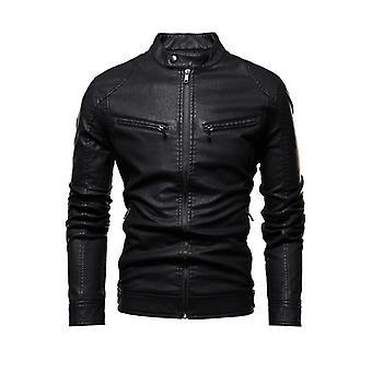 Veste d'automne Homme, Slim Retro Winter Male Pu Leather Stand Collar Sportswear