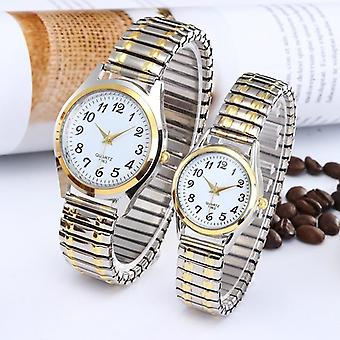 Divat Vintage Business Women Férfiak Elasztikus Kvarc Watch Tide Lovers Pár