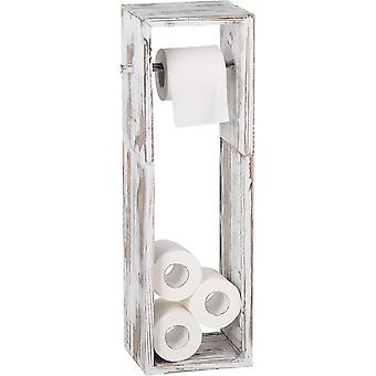 HAITRAL Free Standing Toilet Paper Holder, Wooden Tissue Holder Shelf Roil Storage for Bathroom