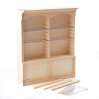 Dolls House Bare Wood 2 Bay Shop Fitting Double Display Shelf Unit