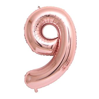 "Rose gold foil party balloon - 80cm (32"") - number 9"