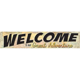 """Viaja el mapa bienvenido a nuestro gran banner de aventura, 8"""" x 39"""""""