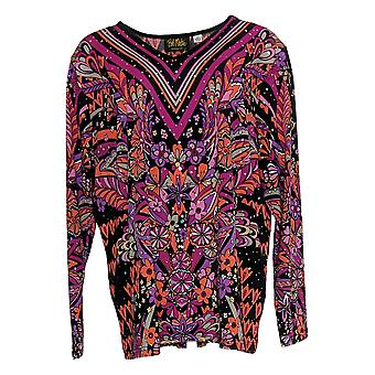 Bob Mackie Women's Top Floral Print Pullover Knit V Neck Purple A345600