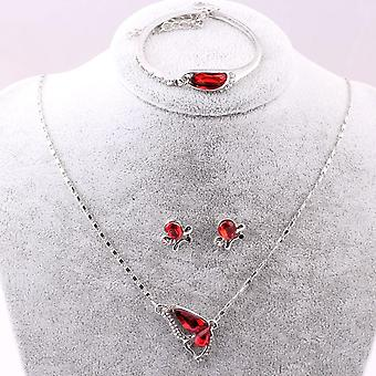 Butterfly Jewelry Sets Necklace + Earring+bracelet, Crystal Set Jewelry