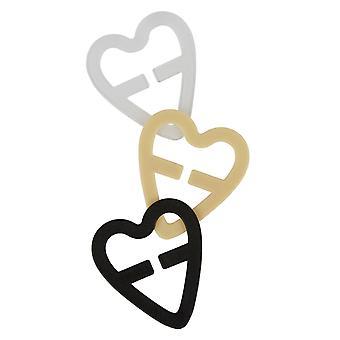 Secret Weapons SW017H Women's Heart Bra Clips Clear/Black/Nude 3 Pack