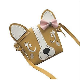 Mini Shoulder Bag Pu Leather Cute Dog Bowknot Kids Casual Messenger Bags