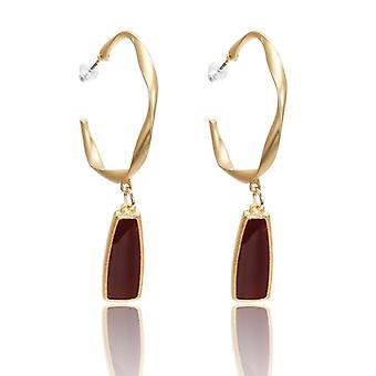 Half Hollow Ring and Square Drop Earrings