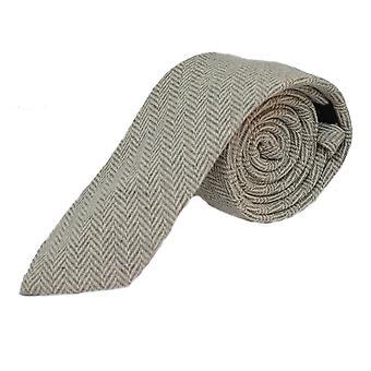 Gris plata & Crema Herringbone Corbata & Conjunto cuadrado de bolsillo