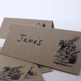 Alice in Wonderland Place Cards Set of 8 Brown Kraft Wedding Party