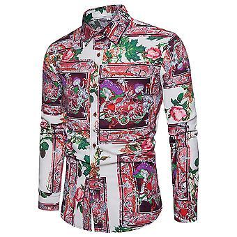 يانغفان الرجال & apos;ق طويل الأكمام قميص الأزهار طباعة زر أسفل قميص