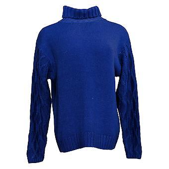 G By Giuliana Women's Sweater Textured Sleeve Turtleneck Blue 727012