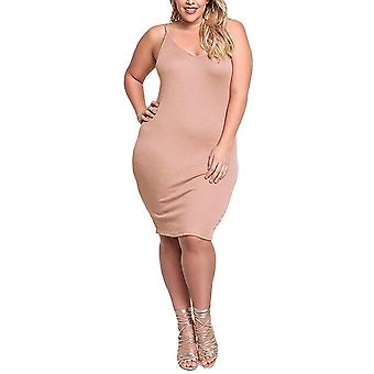 Sexy ženy pletené sklzu šaty v krku bez rukávov pevné štíhle bodycon plus veľkosť