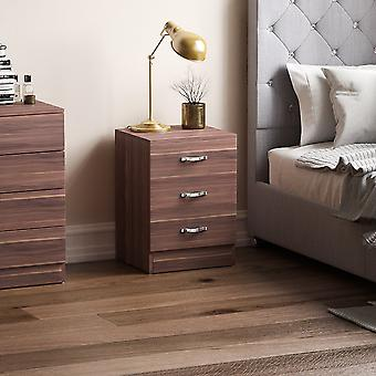 Riano 3 Drawer Bedside Chest Cabinet, Walnut