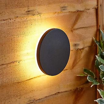 Modern Circle Black Outdoor Wall Light Up Down Integrated LED IP54 Garden Patio