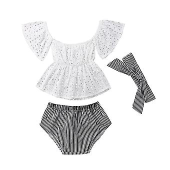 Baby Casual Clothes Set, Summer With Shoulder, Short-sleeved, Hollow