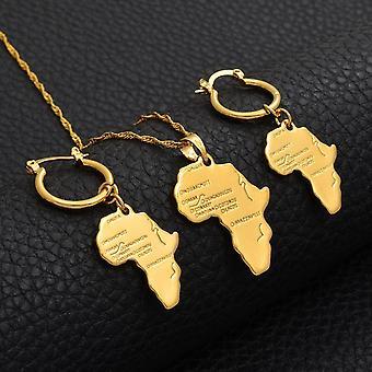 Anniyo afrikanischen Karte Schmuck Sets Halskette Ohrringe