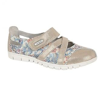 Boulevard Flora Ladies Leather Wide Fit Shoes Grey/multi Floral
