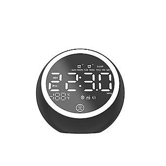 Wireless bluetooth 5.0 Music Speaker LED Display Dual Alarm Clock FM Radio Stereo Speaker with EU Po