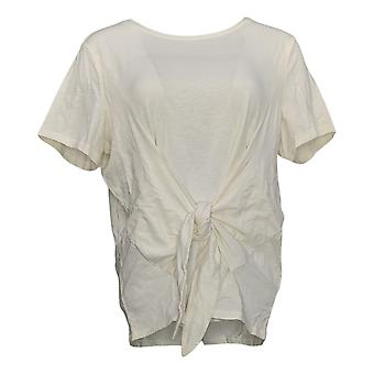 AnyBody Women's Top Cozy Knit Slub Tie Front Tee Ivory A374517