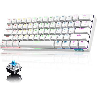 RGB mechanische Tastatur, RK61 verdrahtet / Wireless Bluetooth Tastatur 61 Tasten wasserdichte LED Hintergrundbeleuchtung Gaming Tastatur Anti-Ghosting für Gamer und Typisten (weiß)