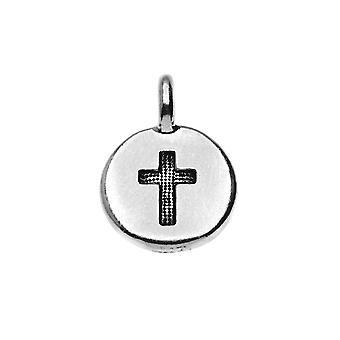 Charm peltro TierraCast, simbolo croce rotonda 16.5x11.5mm, 1 pezzo, placcato argento anticato