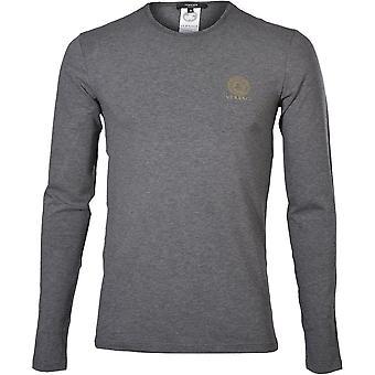 Versace ikoniske Crew-hals langermet T-skjorte, grå melange
