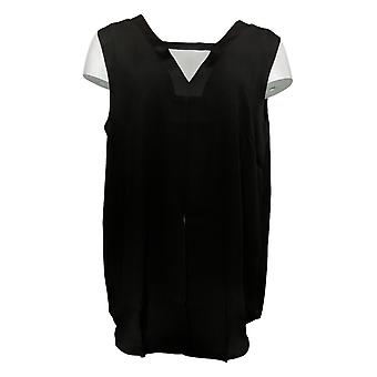 Lisa Rinna Collection Women's Top V-Neck Sleeveless Blouse Black A309121
