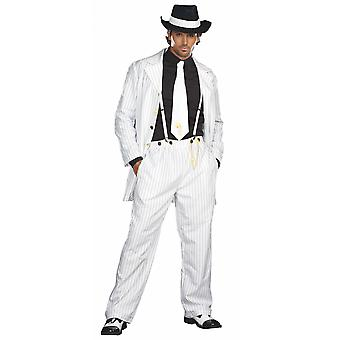 Zoot Suit Riot White 1920s 40s Pachuco Gangster Mobster Mens Costume Plus 2XL