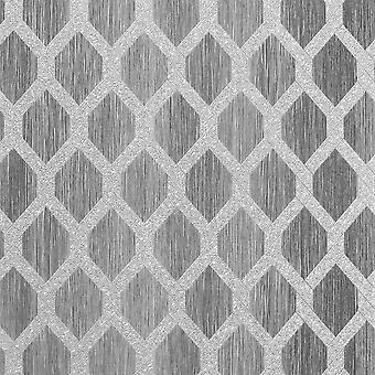 Radiance Trellis Charcoal Wallpaper
