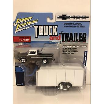 1965 Chevy Pickup with Enclosed Car Trailer 1:64 Scale JLBT007A