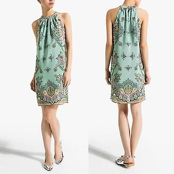 Dámské jednodílné šaty bez rukávů šifonový potisk halter výstřih z ramene