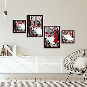 4PSCT-17 Flerfarvet dekorativt indrammet MDF-maleri (4 stykker)