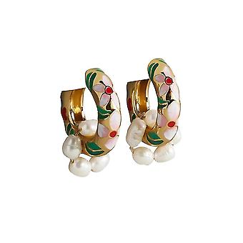 Eardrops Printed Multielemented Beaded Alloy Earrings For Daily Use