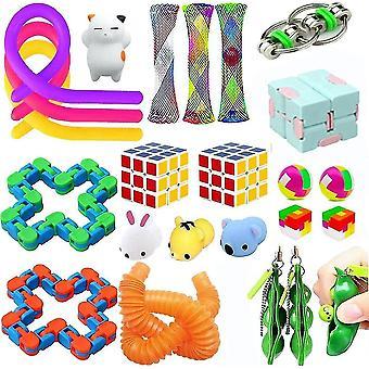 24pcs חרדה הקלה צעצועים להגדיר לדחוף פופ בועות אטריות מיתרים חושי צעצוע Fidget