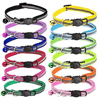 Cat Collars 7pcs With Bells,id Tag And Reflective Strip,pet Collar