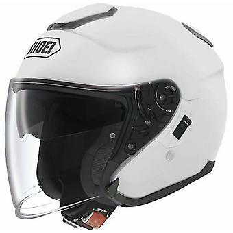 Shoei J Cruise Plain Open Face Motorcykel Hjälm Hi-Vis Reflekterande Vit