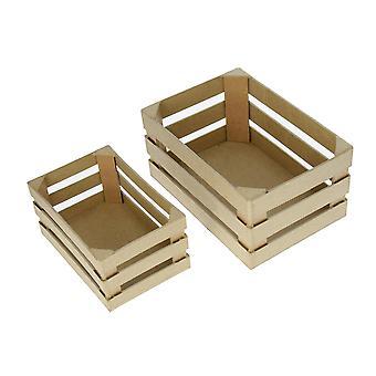 2 Caisses de Mache en papier moyen - 20cm et 15cm Formes Papier Mache