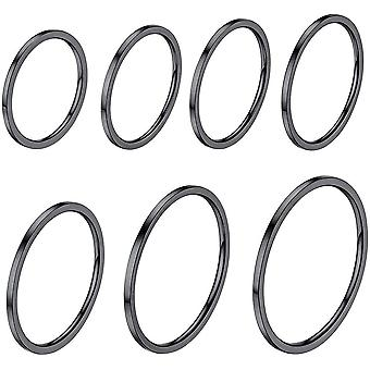 (Black Plated) 7 PCS Knuckle Ring Set,UK Size H to Size T 1/2 (US Size 4 to Size 10),1MM Wide,Boys