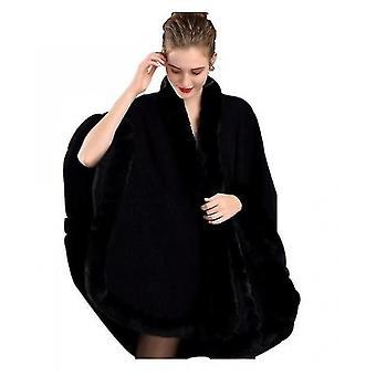 Damen Cape Rabbit Fur Schal Schal (Schwarz)
