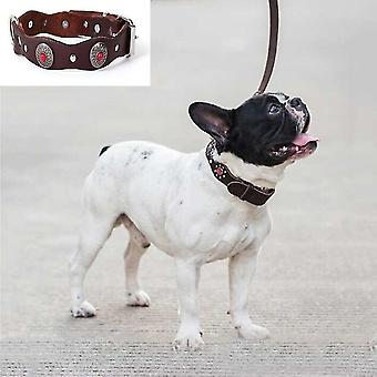 Vintage Ethnic Style Genuine Leather Pet Waved Diamond Collar, Specification: 520x25mm(Red)