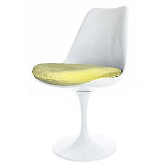 Fusion Living Glanzende Witte En Gele Luxe Draaibare Bijzetstoel