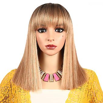 Long Straight Synthetic Hair Wig Blonde Bob Side Part Dark Roots Wigs