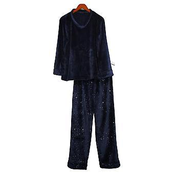 Soft & Cozy Women's Warm V-Neck Pajama Set Blue 670940
