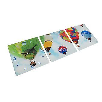3 Panel Glass Wall Clock - Hot Air Balloon Design