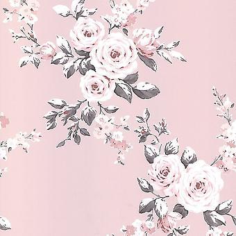 Muriva Catherine Lansfield Canterbury Blomster blush tapet 165504