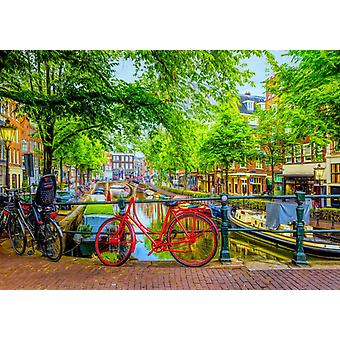 Bluebird The Red Bike in Amsterdam Jigsaw Puzzle (1000 Pieces)