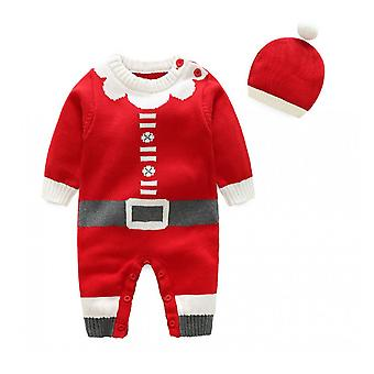 Christmas Outfit Toddler Christmas Jumpsuit Long Sleeve Xmas Homewear With Hat