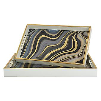 Plutus Brands Tray Set Of 6 in Multi-Colored Glass
