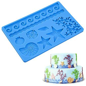 Blue Seashell Conch Wave Star Fondant Cake Embossing Mould Decor Silicone Mold