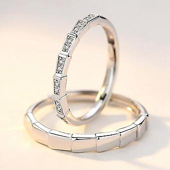 Matchande silverpläterade ringar med zirkon för män och kvinnor